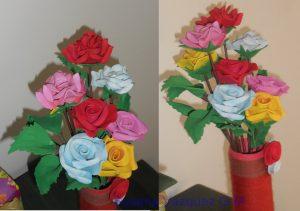 Ramo de rosas en foamy