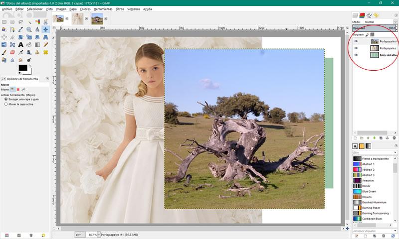pantalla con las imagenes insertadas