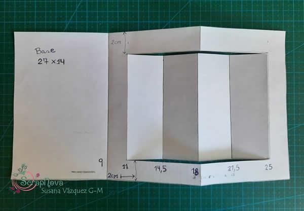 Esquema de la tarjeta pop up en centímetros