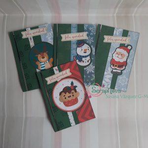 4 postales de navidad, con sellos y forma